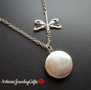 Sterling Silver Locket Dragonfly Necklace